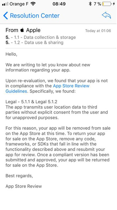 app location sharing crackdown email