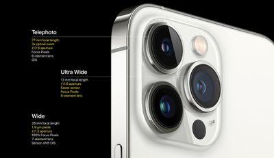 iphone 13 pro camera lenses specs