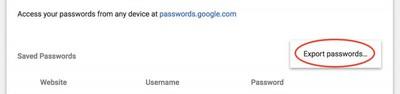 5 export passwords chrome