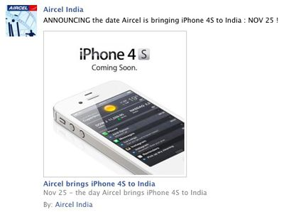 aircel india iphone 4s