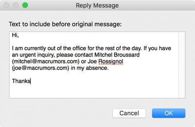out of office rule text