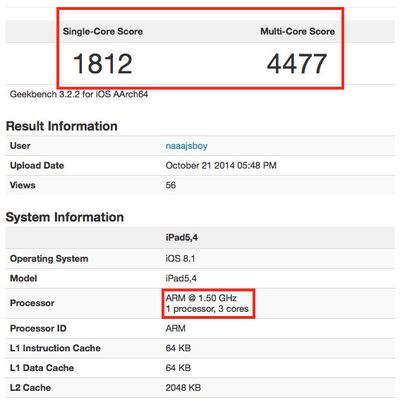 ipad air 2 a8x geekbench