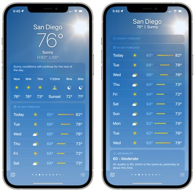 ios 15 weather app main view