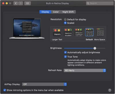 16 inch macbook pro refresh rate