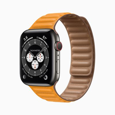 Apple watch series 6 stainless steel case orange band 09152020