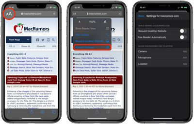 how to access website settings safari ios 13