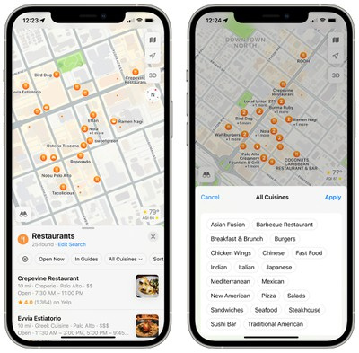 ios 15 maps search