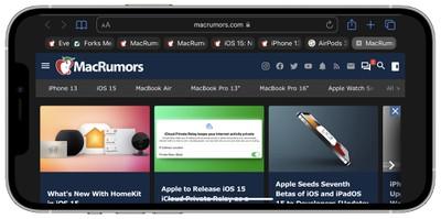 iOS 15 tab bar in landscape mode
