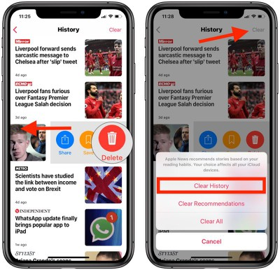 how to clear apple news history 2