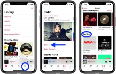 how to find the Beats 1 radio archive apple music 0