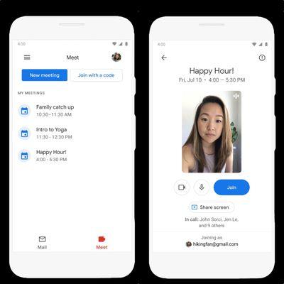 google meet gmail app ios