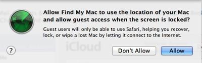 find my mac dialog
