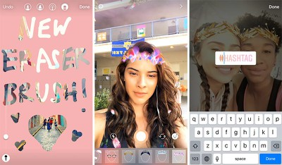 instagram face filters hashtag sticker eraser