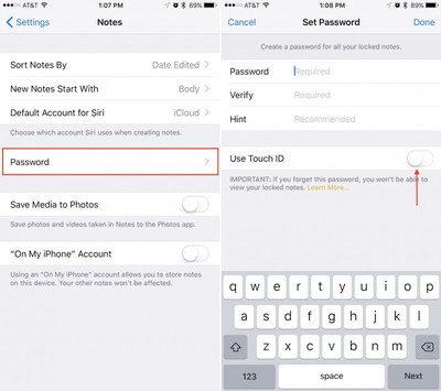 iPhone Notes Touch ID How To