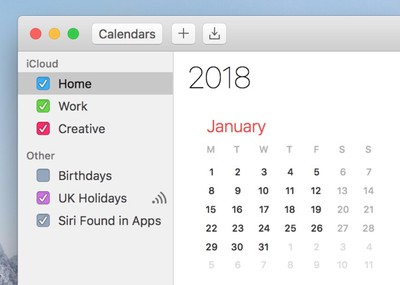 2 select calendars macos