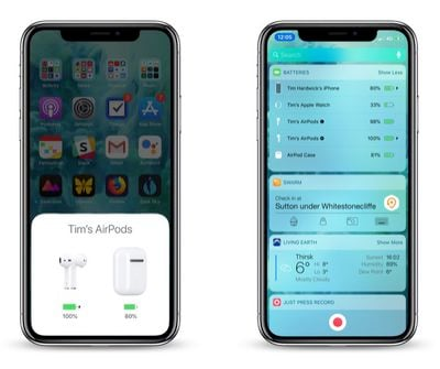 how to check AirPods battery life on iPhone