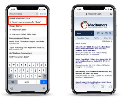 how to perform a quick website search in safari 2