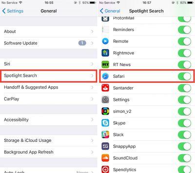 Spotlight Safari iOS