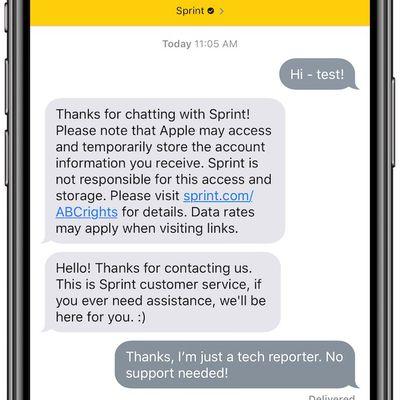 sprint apple business chat screenshot
