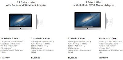Apple Now Offering Imacs Equipped With Vesa Mount Adapters As 40 Upgrade Macrumors