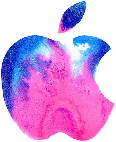 apple logo pink blue brooklyn