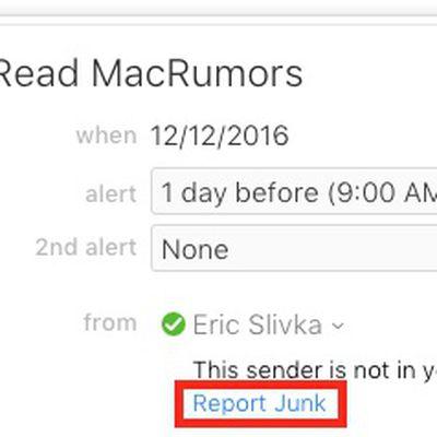 icloud calendar spam report junk