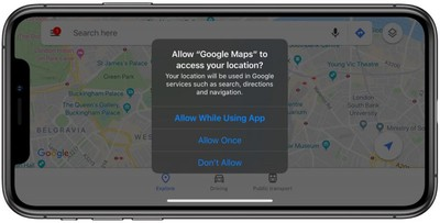 location tracking popup ios 13