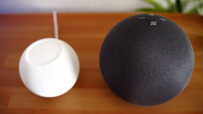 amazon echo homepod mini side by side