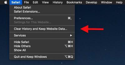 safari keep website data