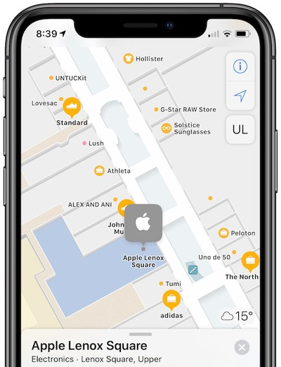 apple maps indoor lenox square