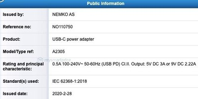 Apple A2305 20W Adapter NEMKO Cert 1