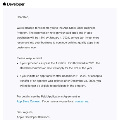 small business program accepted