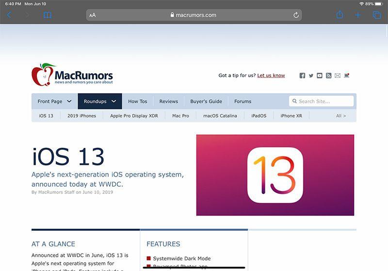 Safari на iPadOS полный рабочий стол сайта