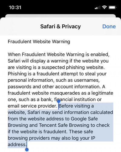 apple safari fraudulent website warning tencet