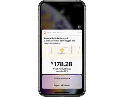 Apple Card unusual spending alert