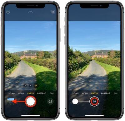 how to take burst photos iphone 11