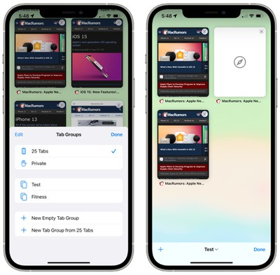 iOS 15 Safari tab groups