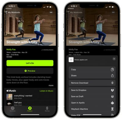 fitness plus remove downloaded video