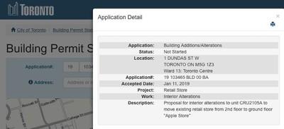 apple eaton centre building permit
