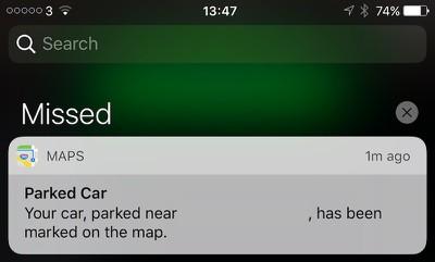 iOS 10 parked car