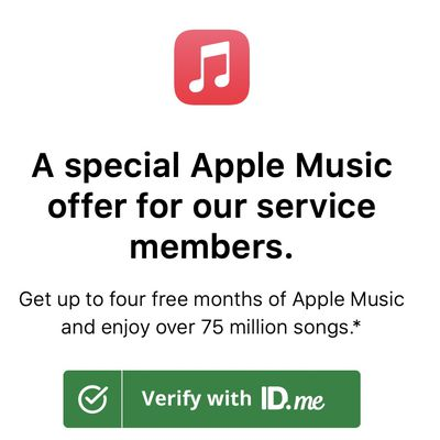 apple music military four month trial