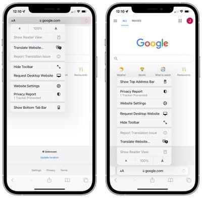Safari show lower tab bar iOS 15 option