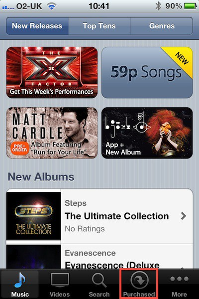 uk itunes ios purchased tab