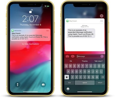 iphone xr haptic touch imessage