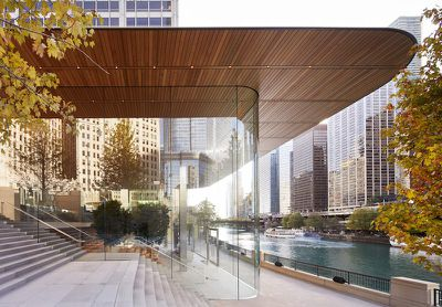chicago michigan ave front entrance glass detail
