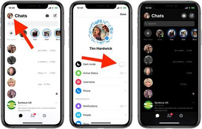 how to enable dark mode facebook messenger