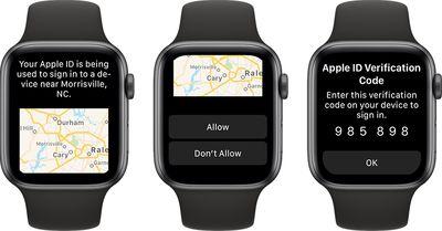 apple watch apple id verification code watchos 6