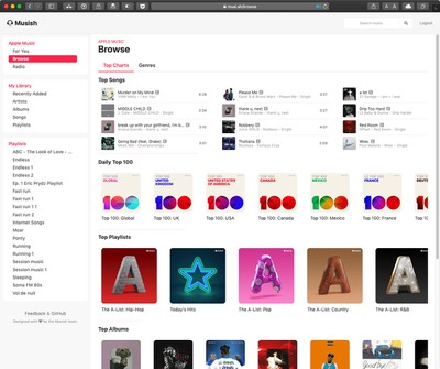 mushish web player for apple music interface 2