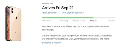 iphone xs max shipped 2