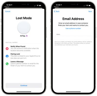 airtag lost mode email